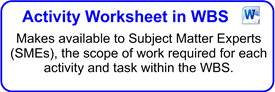 Activity Worksheet In WBS Form