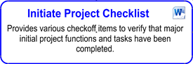 Initiate Project Checklist - kickoff meeting