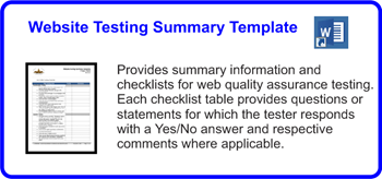 SDLCforms Website Testing Summary Template