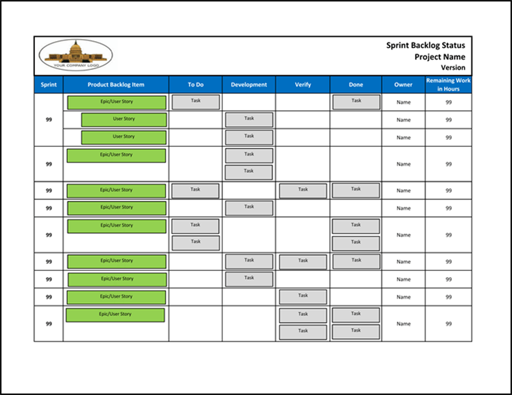 Agile product backlog template excel
